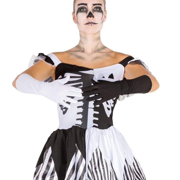 Frauenkostüm Black White Skeleton XL